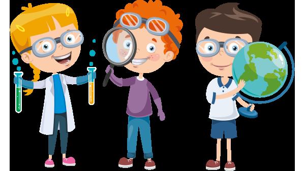 nastolatkowie zafascynowani nauką - ilustracja kreskówkowa