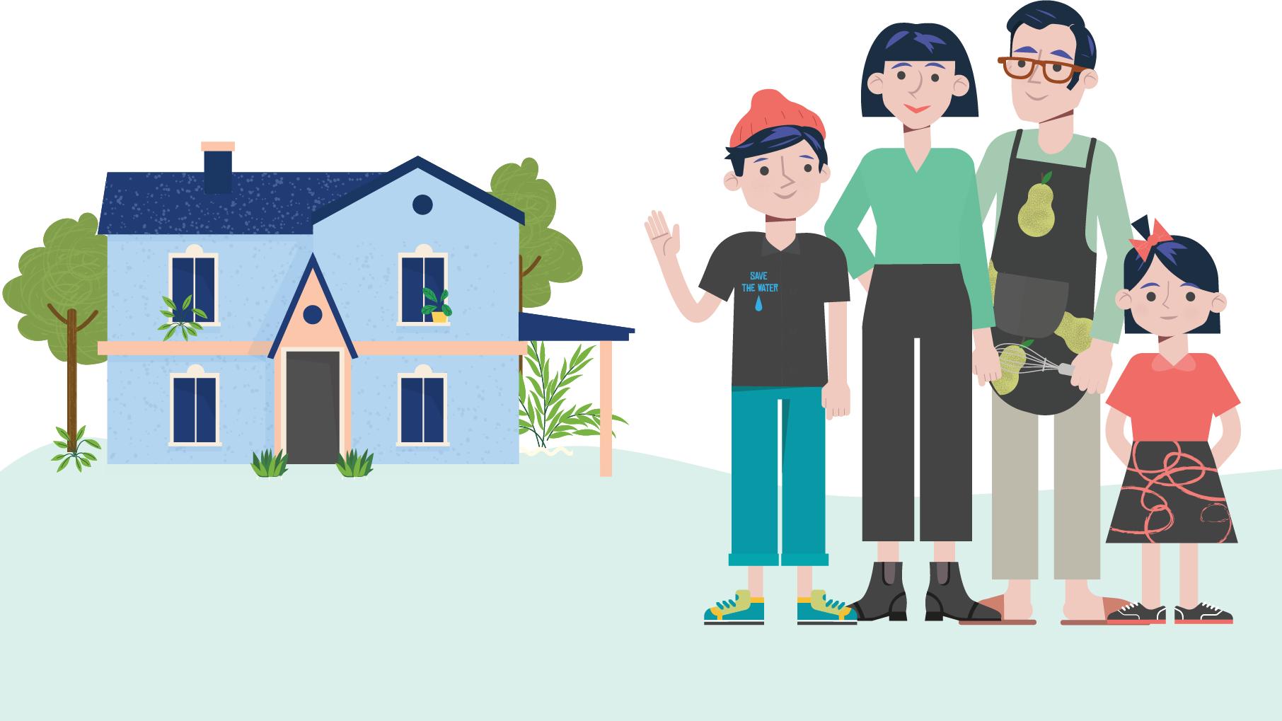 grafika dekoracyjna rodzice z dziećmi przed domem